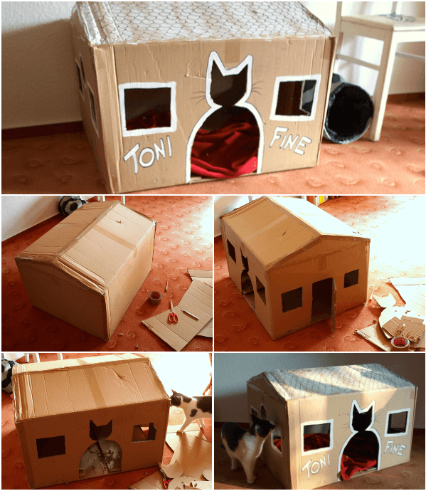 5 cabanes en carton fabriquer que vos chats vont appr cier. Black Bedroom Furniture Sets. Home Design Ideas