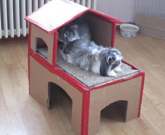 DIY : château en carton pour lapin